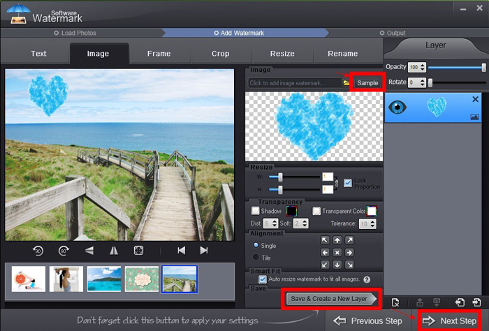 Adding image watermark to photo with Watermark Software