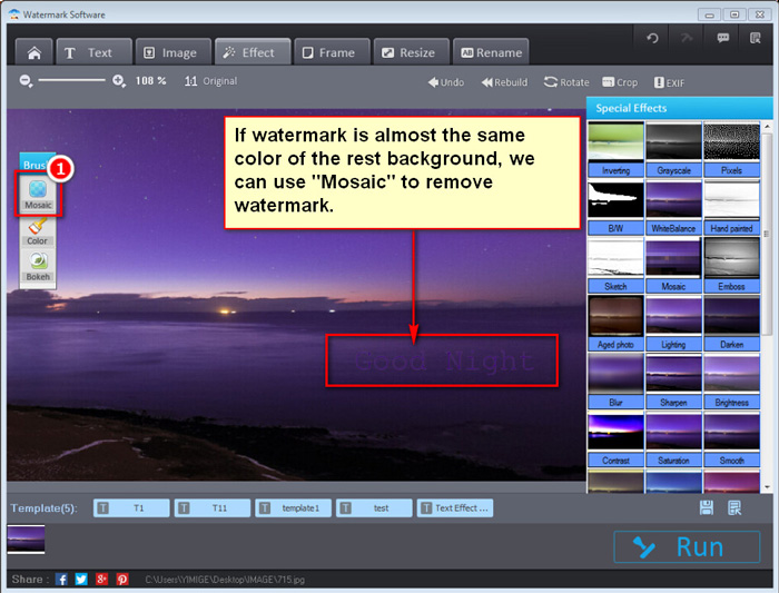 Remove watermark from images - Mosaic