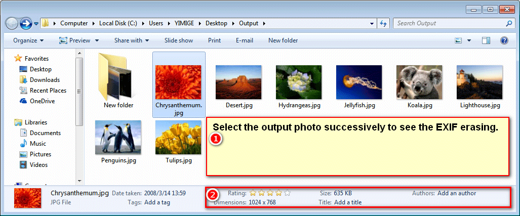 Check removing exif data from photos